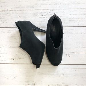 Express open toe booties black suede size 9